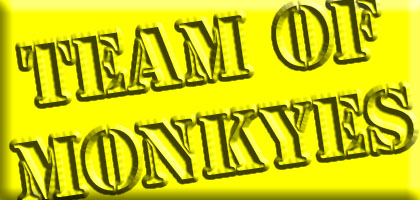 3-d team of monkeys logo