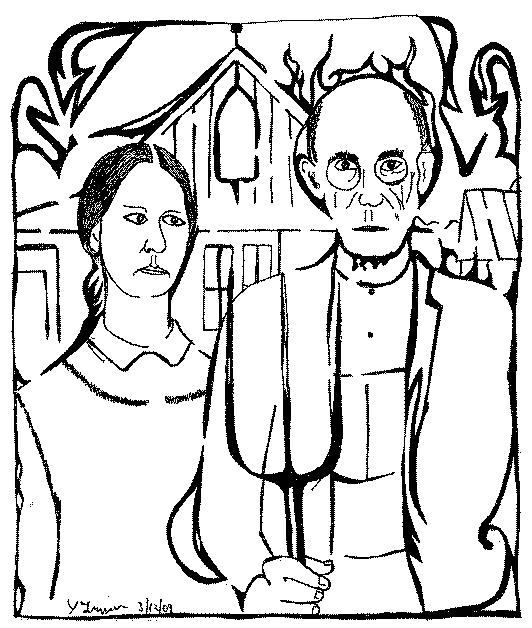 Maze of Grant Woods' American Gothic art masterpeice